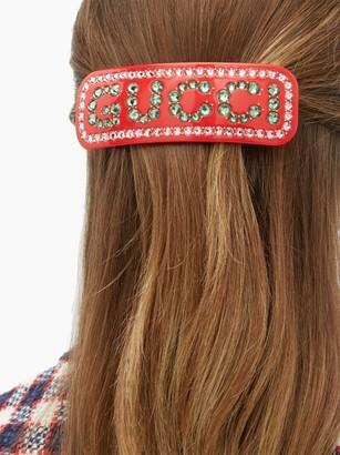 Gucci Crystal-logo Resin Hair Slide - Red