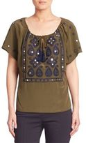 Tory Burch Camille Silk Embellished Peasant Blouse