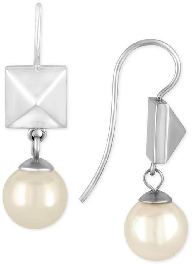 Majorica Marjorica Silver-Tone Imitation Pearl and Pyramid Stud Drop Earrings