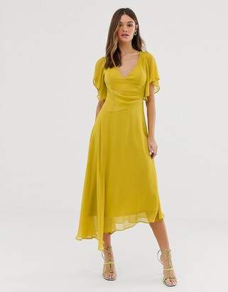 Asos Design DESIGN wrap front midi dress with fluted sleeve detail-Yellow