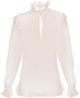 Giambattista Valli Ruffled high-neck silk-georgette blouse
