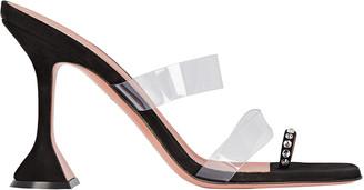 Amina Muaddi Sami PVC-Trimmed Leather Sandals