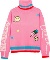 Mira Mikati Embroidered Appliquéd Wool-blend Turtleneck Sweater - Bright pink