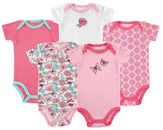 Luvable Friends Baby Girl Cotton Bodysuits, 5-Pack