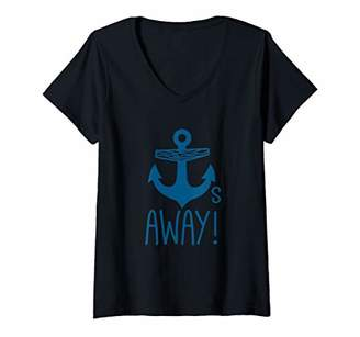 Womens Cool Anchors Away Vintage Blue Graphic V-Neck T-Shirt