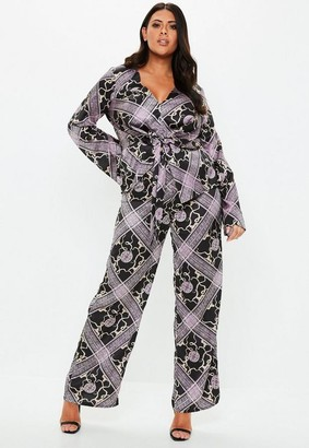 Missguided Plus Size Wide Leg Printed Pants