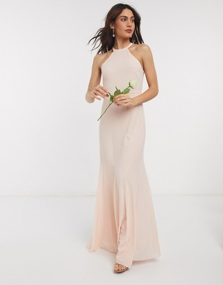 TFNC bridesmaid high neck maxi dress in ecru