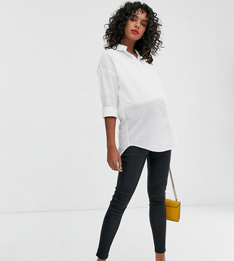 New Look Maternity over bump faux leather coated jeggings in black