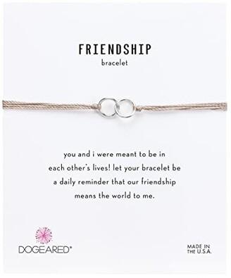 Dogeared Friendship Double Linked Rings Silk Bracelet (Taupe/Sterling Silver) Bracelet