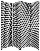 Oriental Furniture 6 ft. Tall Woven Fiber Room Divider Black/White 4 Panel