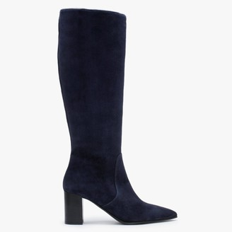 Lamica Blue Suede Pointed Toe Knee Boots
