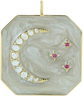Artisan 14K Yellow Gold Moon Star Diamond Ruby Pendant Enamel Jewelry