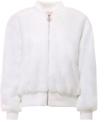 Chiara Ferragni Logo Embroidered Faux Fur Jacket