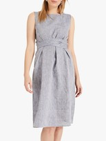 Phase Eight Cross Hatch Linen Dress, Chambray