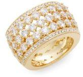 Adriana Orsini Opulent White Stone Barrel Ring/Goldtone