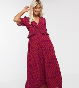 Twisted Wunder frill waist detail maxi dress in rust spot print-Brown