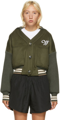 Off-White Khaki Wool Cropped Bomber Jacket