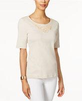 Karen Scott Cotton Beaded-Neck Top, Created for Macy's