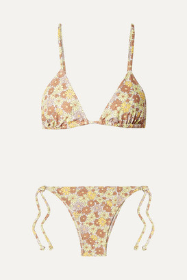 Faithfull The Brand Aira Floral-print Triangle Bikini - Peach