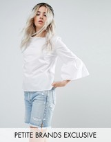 Noisy May Petite Fluted Sleeve Top