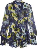 Erdem Liya Ruffled Floral-print Silk-georgette Blouse - Navy