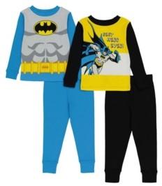 AME Batman Toddler Boys Batman 4-Piece Pajama Set
