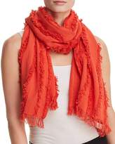 Eileen Fisher Silk Frayed-Trim Scarf