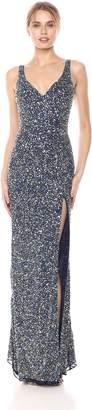 Mac Duggal Women's Double V-Neck Sequin Slit Gown