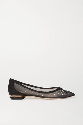 Nicholas Kirkwood Lexi Suede-trimmed Crystal-embellished Mesh Point-toe Flats - Black