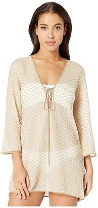 Missoni Mare Solid Rhomboid Tunic Cover-Up (White/Gold) Women's Swimwear