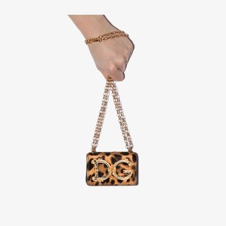 Dolce & Gabbana brown and black Girls leopard print micro bag