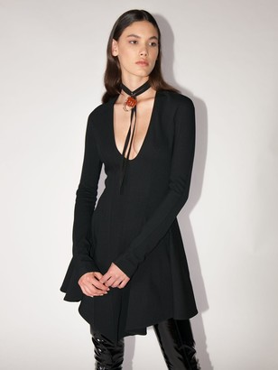 Thierry Mugler Flared Viscose Blend Mini Dress