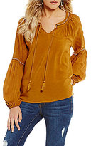 Copper Key Embroidered Long Sleeve Peasant Top