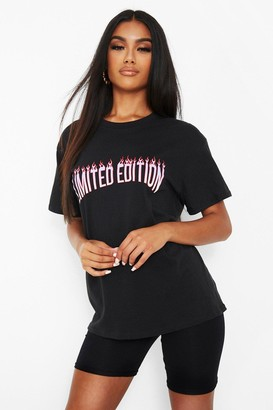 boohoo Limited Edition with Flames Slogan T-shirt