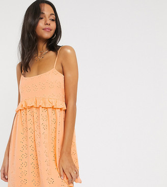 Asos Tall ASOS DESIGN Tall strappy broderie smock dress in apricot