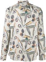 Paul & Joe feathers print shirt