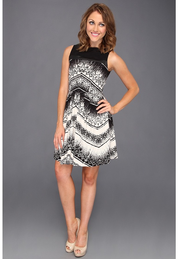 Nicole Miller Chevron Batik-Washed Satin Strapless Dress (Black/White) - Apparel
