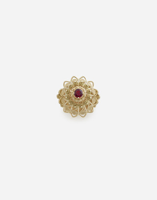 Dolce & Gabbana Pizzo Ring In Yellow Gold And Rhodolite Garnet