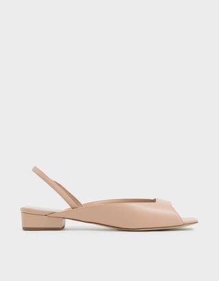 Charles & Keith Square Toe Mini Block Heel Slingback Sandals