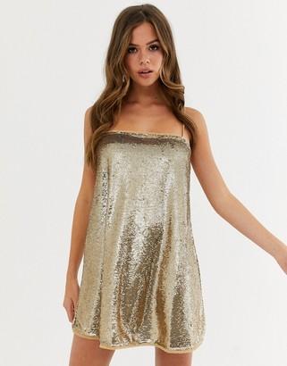 Free People Time To Shine slinky slip dress-Gold