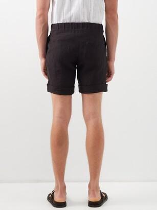 MARANÉ Slubbed Linen-poplin Shorts - Black