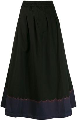 Suzusan contrast flared A-line skirt