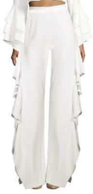 Alice + Olivia Estelle Ruffle Side Slit Pants