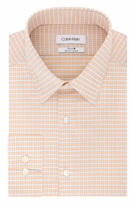 Calvin Klein Men's Dress Shirt Non Iron Stretch Slim Fit Point Collar Check