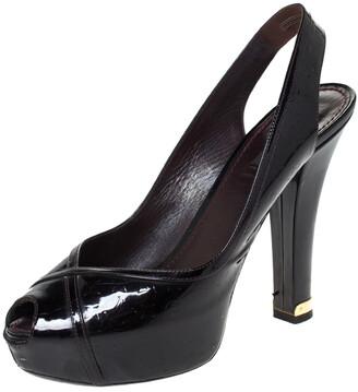 Louis Vuitton Amarante Monogram Vernis Tamara Slingback Sandals Size 39.5