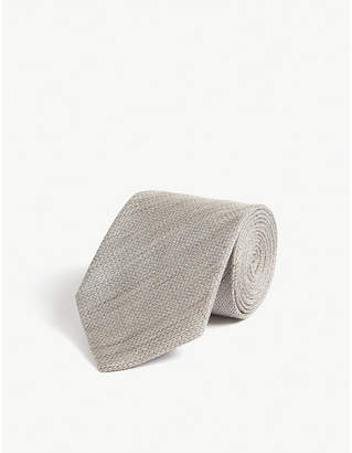 Eton Woven linen-blend tie
