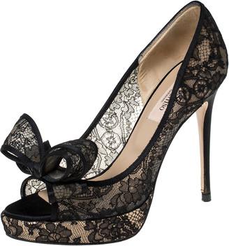 Valentino Black Floral Couture Lace Bow Peep Toe Platform Pumps Size 36