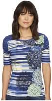 Tribal Elbow Sleeve Scoop Neck Printed Top Women's Short Sleeve Pullover
