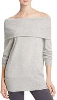 Aqua Cashmere Off-The-Shoulder Cashmere Sweater