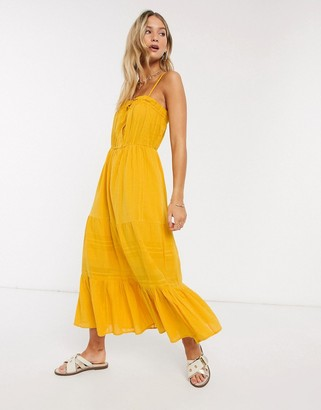 Y.A.S textured cami midi dress with button front in yellow